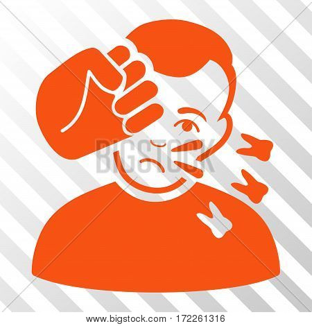 Orange Head Strike interface pictogram. Vector pictogram style is a flat symbol on diagonally hatched transparent background.