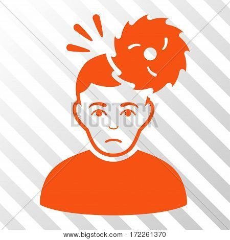 Orange Headache toolbar pictogram. Vector pictogram style is a flat symbol on diagonally hatched transparent background.