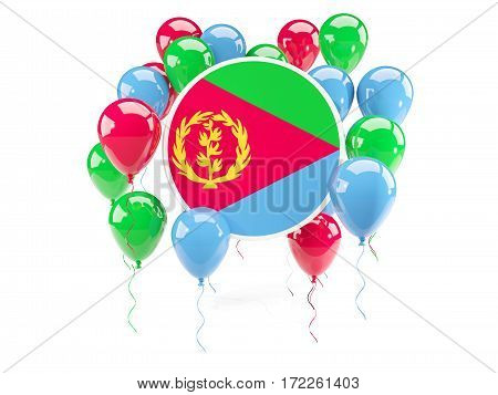 Round Flag Of Eritrea With Balloons