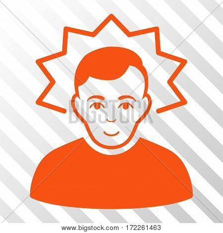 Orange Inventor toolbar icon. Vector pictograph style is a flat symbol on diagonally hatched transparent background.