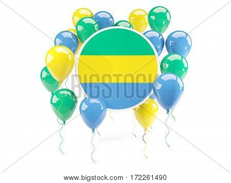 Round Flag Of Gabon With Balloons
