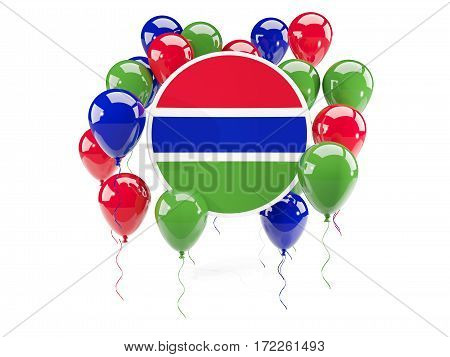 Round Flag Of Gambia With Balloons