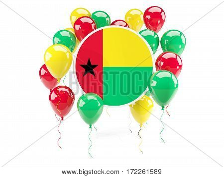 Round Flag Of Guinea Bissau With Balloons