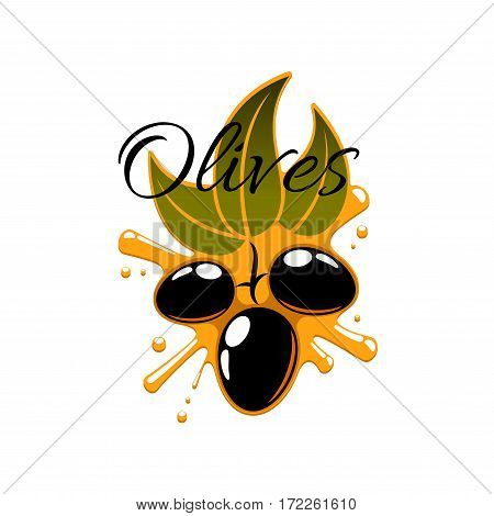 Olive oil splash and fresh flack olives. Vector icon of olive-tree branch with green leaves and black ripe fruits. Isolated emblem or symbol for oil product bottle label