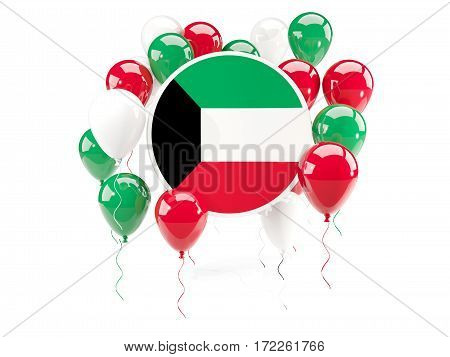 Round Flag Of Kuwait With Balloons