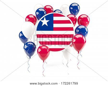 Round Flag Of Liberia With Balloons