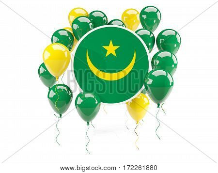 Round Flag Of Mauritania With Balloons