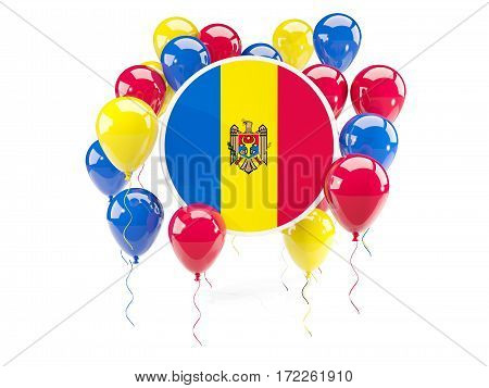 Round Flag Of Moldova With Balloons
