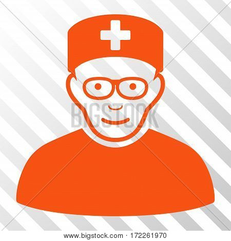 Orange Medical Specialist toolbar icon. Vector pictograph style is a flat symbol on diagonal hatch transparent background.