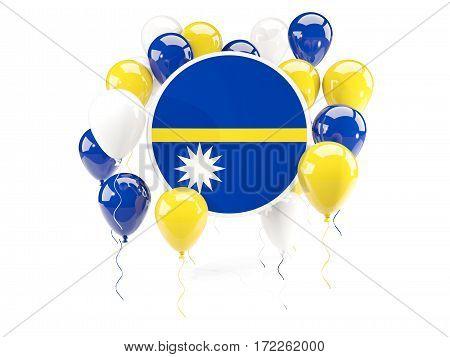 Round Flag Of Nauru With Balloons