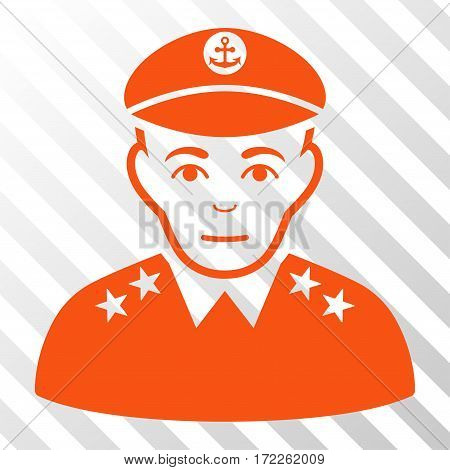 Orange Military Captain toolbar icon. Vector pictogram style is a flat symbol on diagonal hatch transparent background.