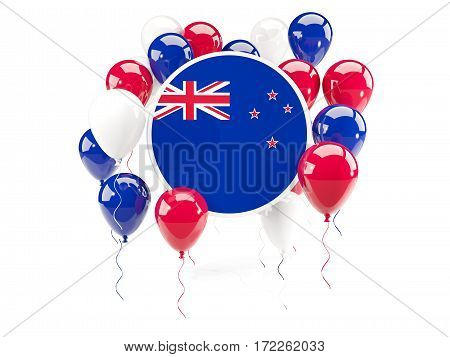 Round Flag Of New Zealand With Balloons