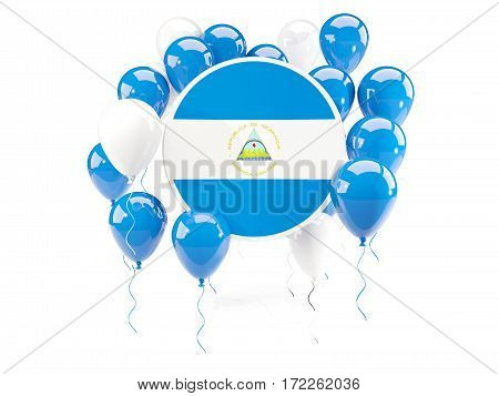 Round Flag Of Nicaragua With Balloons