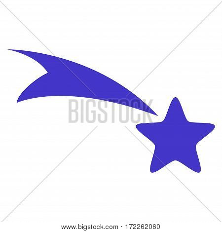 Falling Star flat icon. Vector violet symbol. Pictogram is isolated on a white background. Trendy flat style illustration for web site design logo ads apps user interface.