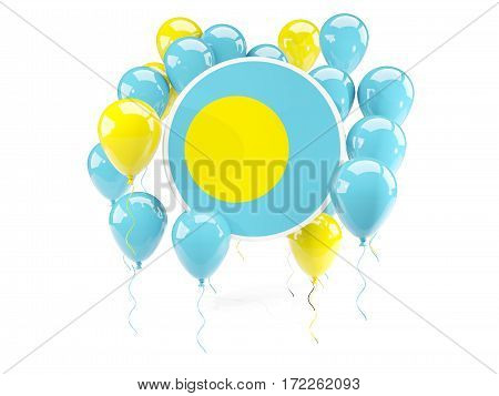 Round Flag Of Palau With Balloons