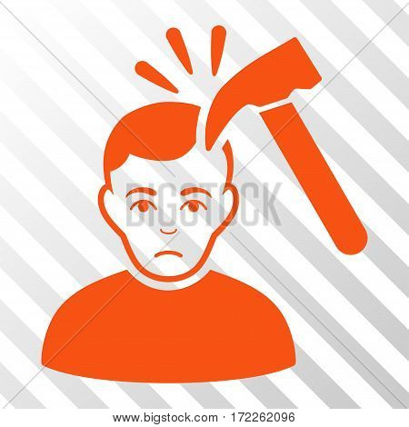 Orange Murder With Hammer toolbar icon. Vector pictograph style is a flat symbol on diagonally hatched transparent background.