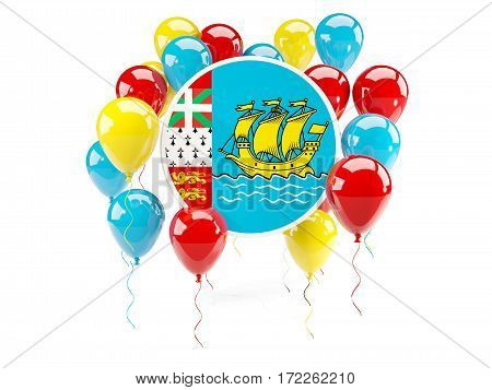 Round Flag Of Saint Pierre And Miquelon With Balloons