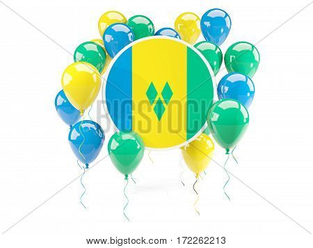Round Flag Of Saint Vincent And The Grenadines With Balloons