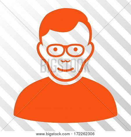 Orange Pensioner interface toolbar pictogram. Vector pictogram style is a flat symbol on diagonally hatched transparent background.