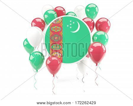 Round Flag Of Turkmenistan With Balloons