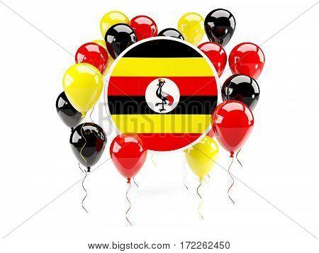 Round Flag Of Uganda With Balloons