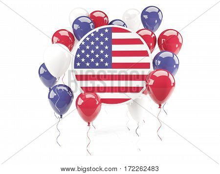 Round Flag Of United States Of America With Balloons