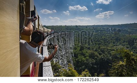 Gokteik, Myanmar - January 5, 2014: Gokteik Viaduct, at 318ft high and 2257ft across, the second-highest railway bridge in the world, Myanmar
