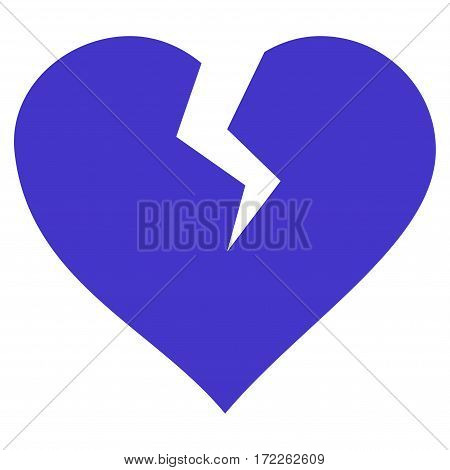 Heart Break flat icon. Vector violet symbol. Pictogram is isolated on a white background. Trendy flat style illustration for web site design logo ads apps user interface.