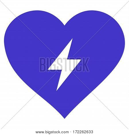 Heart Power flat icon. Vector violet symbol. Pictograph is isolated on a white background. Trendy flat style illustration for web site design logo ads apps user interface.