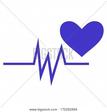 Heart Pulse Signal flat icon. Vector violet symbol. Pictograph is isolated on a white background. Trendy flat style illustration for web site design logo ads apps user interface.