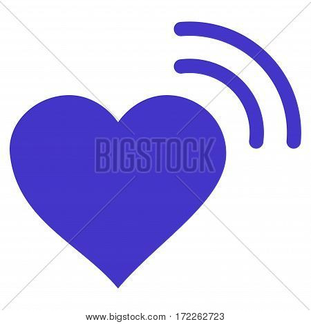 Heart Radio Signal flat icon. Vector violet symbol. Pictograph is isolated on a white background. Trendy flat style illustration for web site design logo ads apps user interface.