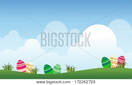 Landscape of easter and cloud vector collection stock