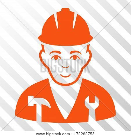 Orange Serviceman interface toolbar pictogram. Vector pictograph style is a flat symbol on diagonally hatched transparent background.