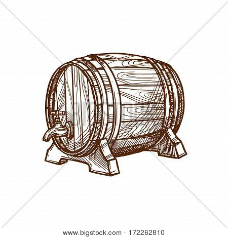 Barrel vector icon or wooden oak cask or keg tun for lager and draught beer, cognac or wine alcohol beverage. Isolated emblem for beer bar and brewpub or pub, brewery company sign and beer festival