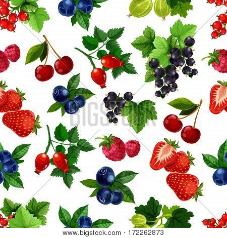 Berries vector seamless pattern of blackberry, blueberry, black or red currant, cherry, raspberry and strawberry, gooseberry and briar. Fresh garden or forest berries design for drinks or desserts