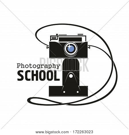 Camera vector icon. Old vintage black photograph camera on tripod stand with photo capture lens, flash light and strap. Isolated emblem for photography or photographer school
