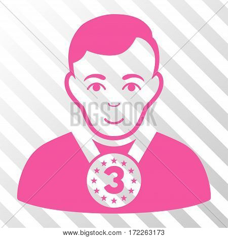 Pink 3rd Prizer Sportsman interface icon. Vector pictograph style is a flat symbol on diagonally hatched transparent background.