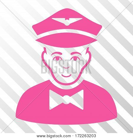 Pink Airline Steward interface pictogram. Vector pictogram style is a flat symbol on diagonal hatch transparent background.