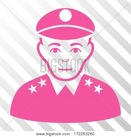 Pink Army General interface icon. Vector pictogram style is a flat symbol on diagonal hatch transparent background.