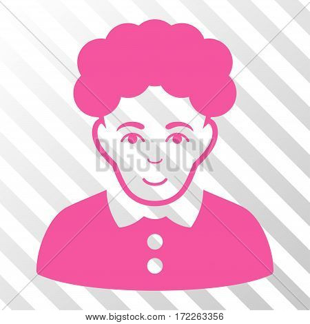 Pink Brunette Woman toolbar pictogram. Vector pictogram style is a flat symbol on diagonal hatch transparent background.