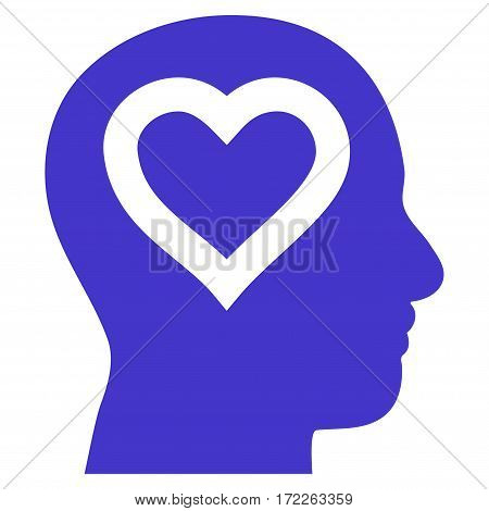 Love In Head flat icon. Vector violet symbol. Pictograph is isolated on a white background. Trendy flat style illustration for web site design logo ads apps user interface.