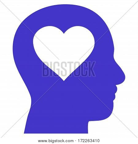 Love In Head flat icon. Vector violet symbol. Pictogram is isolated on a white background. Trendy flat style illustration for web site design logo ads apps user interface.