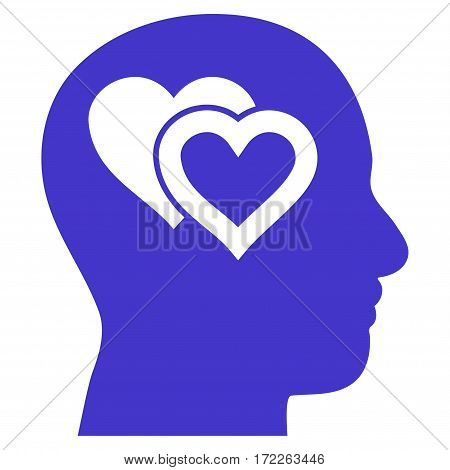 Love In Mind flat icon. Vector violet symbol. Pictogram is isolated on a white background. Trendy flat style illustration for web site design logo ads apps user interface.