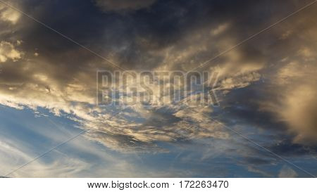 Cumulus clouds against a blue sky. Overcast. Anticyclone. Weather forecast.