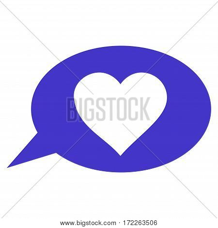 Love Message Balloon flat icon. Vector violet symbol. Pictograph is isolated on a white background. Trendy flat style illustration for web site design logo ads apps user interface.
