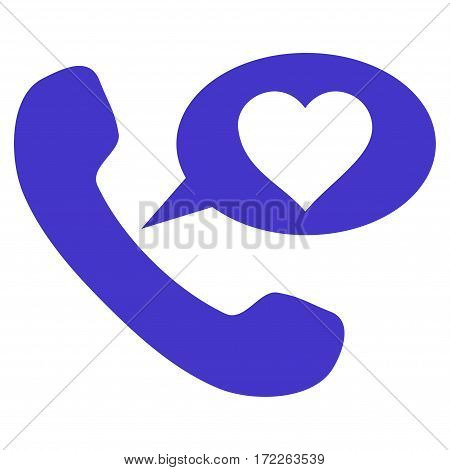 Love Phone Message flat icon. Vector violet symbol. Pictograph is isolated on a white background. Trendy flat style illustration for web site design logo ads apps user interface.