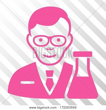 Pink Chemist interface pictogram. Vector pictogram style is a flat symbol on diagonally hatched transparent background.