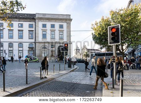 PORTO, PORTUGAL - November 17, 2016. Tourists on foot Graben Street Porto, Portugal, Europe, is the second largest city in Portugal, has a population of 1.4 million.