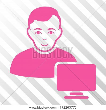 Pink Computer Administrator toolbar icon. Vector pictograph style is a flat symbol on diagonally hatched transparent background.