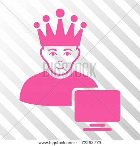Pink Computer Moderator toolbar pictogram. Vector pictogram style is a flat symbol on diagonally hatched transparent background.